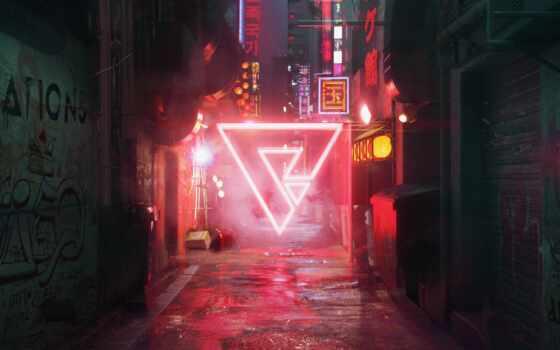 cyberpunk, улица, арта, svet, ночной, design, previe, red, neon, освещенная, noch