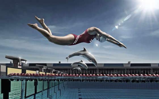girl, pool, jump, dolphins,