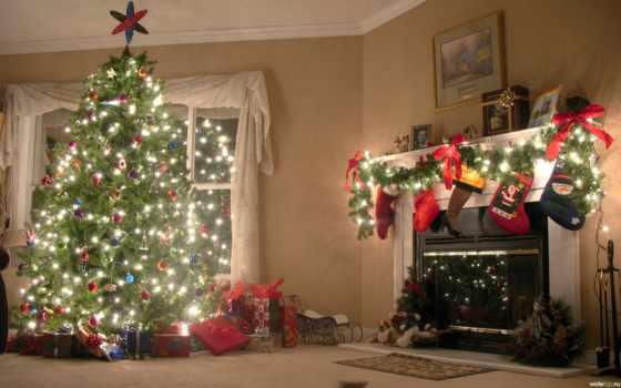 дерево, камин, праздник