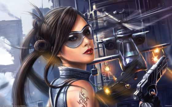 оружие, девушка, art, город, пистолет, кулон, очки, вертолет, sola, bryan,