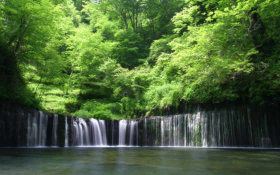природа, япония, hokkaido, elements, водопад, густой, лес,