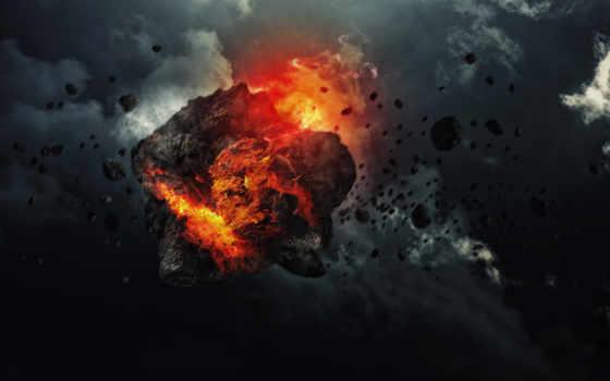 метеорит, космос, скорость, осколки, дым, фон,