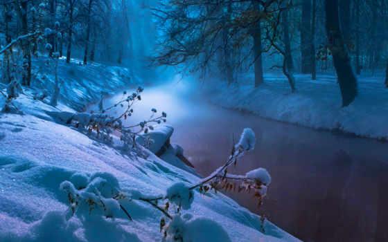 winter, река, холод, trees, снег, water, природа, снежинки,