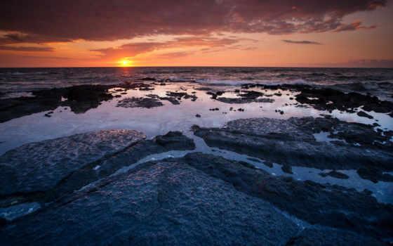 закат, ocean, море, water, камни, hawaii, лужи, вайколоа, янв, побережье,