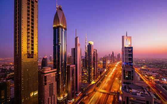 город, красивые, оаэ, дома, вечер, dubai, огни, небоскребы, выдержка,