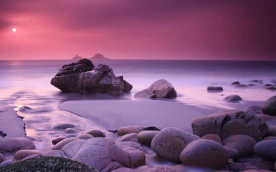 море, закат, камни, фотообои, страница, фотообоев, солнца, macbook,