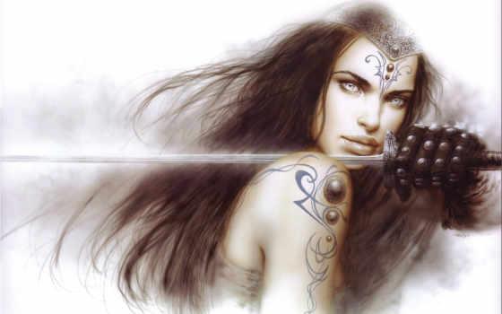 royo, luis, fantasy, art, рисунок,, девушка, gallery, меч, фэнтези, plecho,, warrior, mech, tatuirovka, perchatka, татуировка, women, risunok,