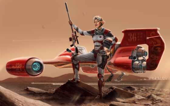 девушка, фэнтези, planet, винтовка, девушки, пустыня, воители, красная, flyer, пилот,