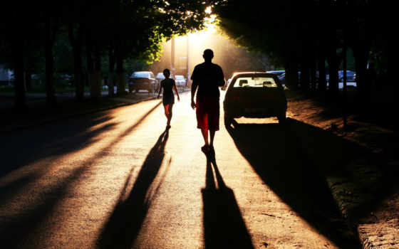люди, улица, город, улице, людей, тени,