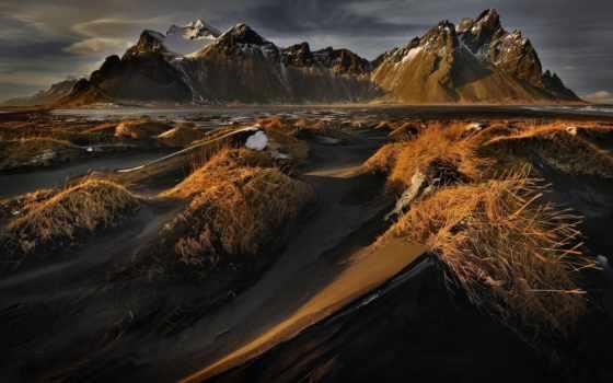 vestrahorn, iceland, гора, stokksnes, горы, mountains, landscape,