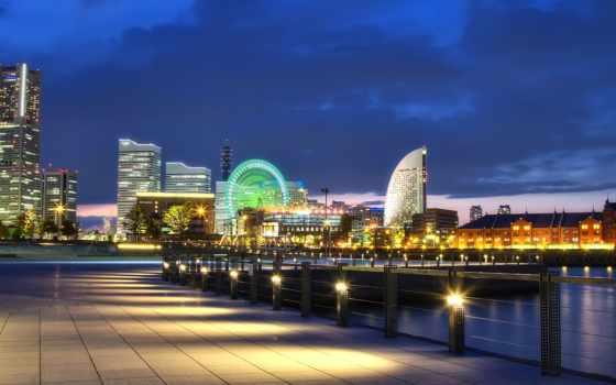 yokohama, япония, japanese, города, мегаполис, мост, порт, ночь, bay,