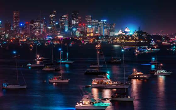 города, ночного, огни, город, ночь, городов, париж, море,