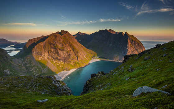 mountains, озеро, природа, desktop, cove, sunsets, закат,