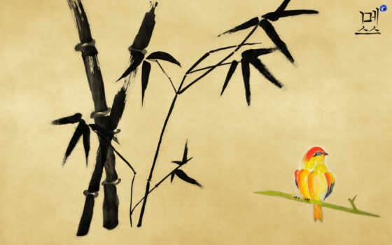 бамбук, рисунок, птичка, иероглиф, высоком, иероглифы,