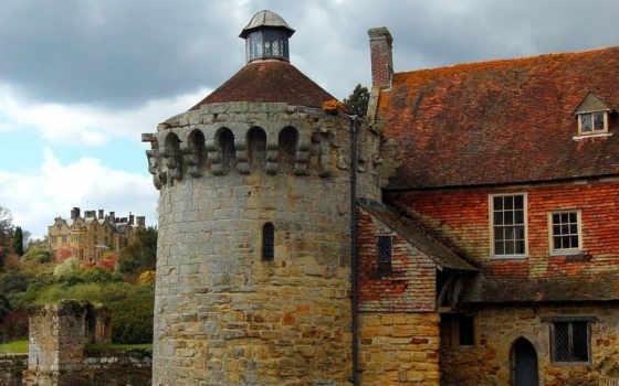 castle, scotney, landscape, scotneycastle, маслом, tapety, картинка, город, живопись,