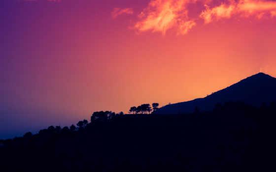 mountains, природа, закат, dark, home, popular,