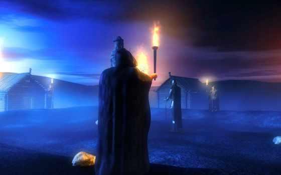 bir, büyücü, ile, боги, bəy, мои, resim,