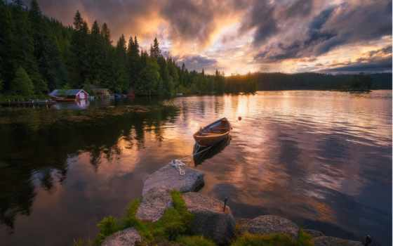 ringerike, norwegian, ole, henrik, everything, норвегия, озере, закат, images,