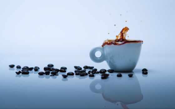coffee, cup, seed, бабочка, брызги, splash, blue, white, зерна, отражение