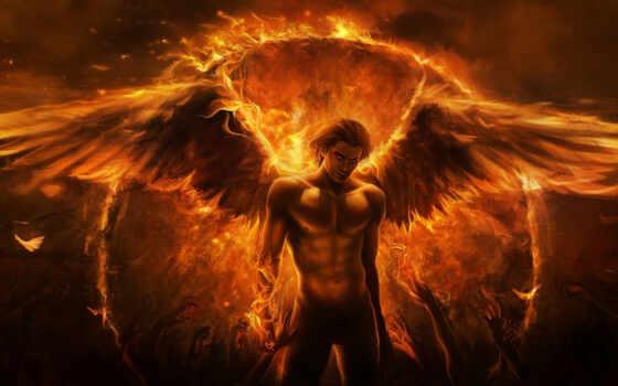 огонь, art, крылья, парень, angel, демон, руки, imaliea,
