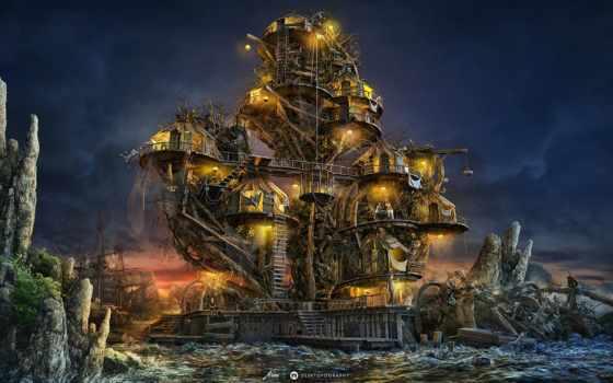 house, fantastic, кораблей, обломков, фантастика, anatol, море, рисунок,