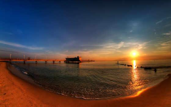 берег, закат, море, мост, landscape, есть, дек, тег, zaker, которых, всех,
