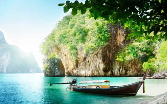 море, острова, небо, лодка, sun, thai, остров, природа, пляж, пхукет,