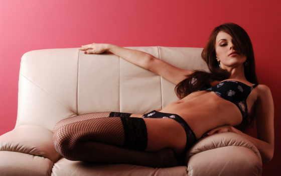 диван, elizabeth, лицо, stockings, взгляд, девушка, fone, две,