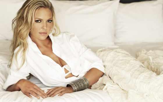blonde, кареглазая, кровать, халатик, белая, белое, дек, katherine, heigl,