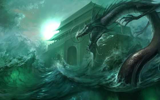 art, буря, waves, море, дракон, храм, asian, битва, ocean,