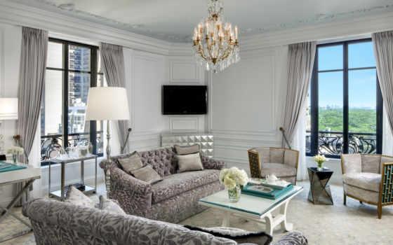 окнами, гостиной, двумя, design, разных, lounge, стенах, комнаты, комната, интерьер, комнате,