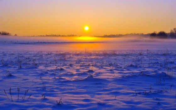 рассвет, закат, winter, море, небо, горизонт, поле, снег, sun, туман, лес