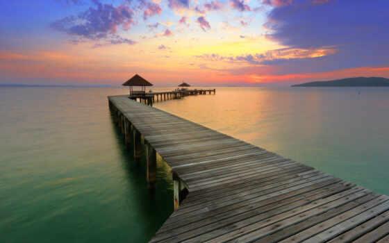 море, мост, фото, detailed, закат