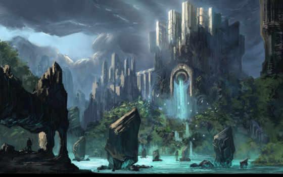 fantasy, горы, мир, источник, море, водопад, загадочный, арт, фэнтези, замок, одинокий, странник, скалы, similar, город, вода, правой, красивое, человек, озеро,