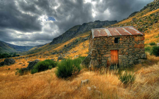 домик, горах, горы, восход, прочие, pole, пейзажи -, каменный, солнце, priroda,