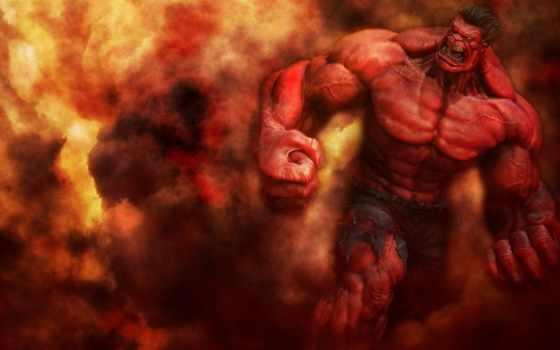 hulk, red, marvel, comics, drawing,