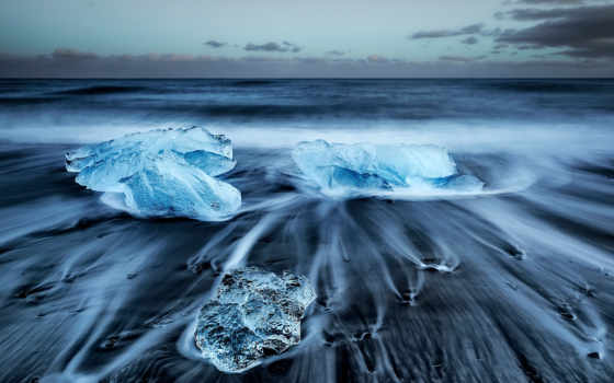 iceland, пляж, black, песок, jokulsarlon, icebergs, torre, tags,