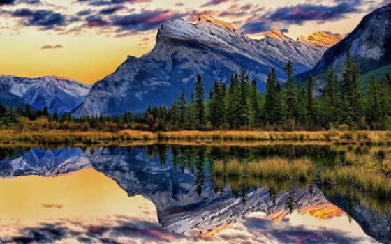 природа, озеро, горы, канадский, banff, trees, альберта, канада, лес, vermillion,
