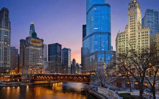 chicago, usa, сша, иллинойс, город, ночь, американский, небоскребы,