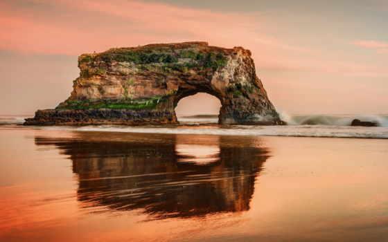 natural, state, природа, rock, пляж, cruz, ocean, bridges, санта,