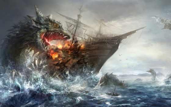 море, monster, корабль, fantasy, pinterest, attacking, monsters, illustration,