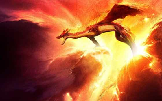 дракон, огонь, red, illustration
