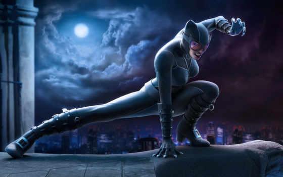 catwoman, обои, кошка, ночь, город, comics, луна,