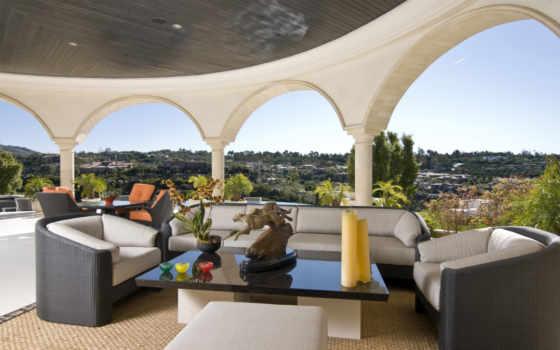 террасы, веранды, балконы, кресла, гепарды, прекрасный, вид, город, интерьер, арки,