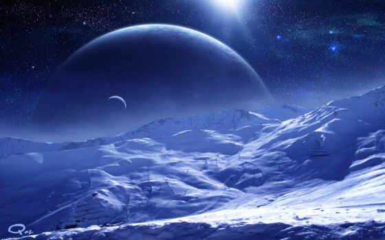 космос, планеты, art