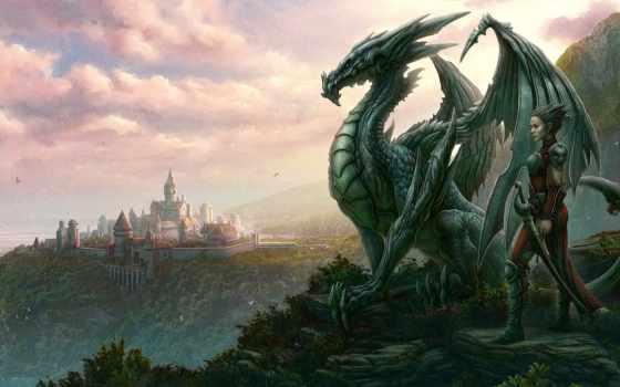 дракон, мужчина, город