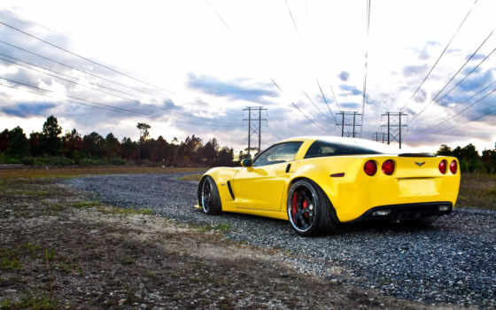 авто, chevrolet, машина, автомобили, corvette, июл, дорога, yellow, машины,