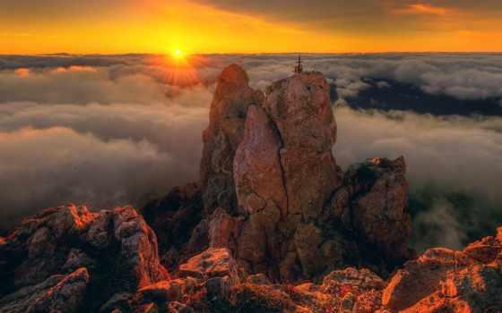 закат, clouds, landscape, гора, море, ай, петри, крым, resolution,