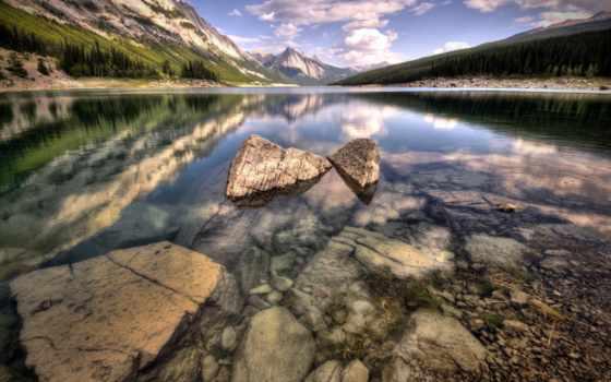 lakes, озеро, природа, отражение, wide, definition, high, небо,