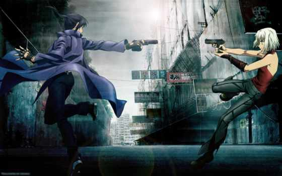 anime, пистолет, ханаан